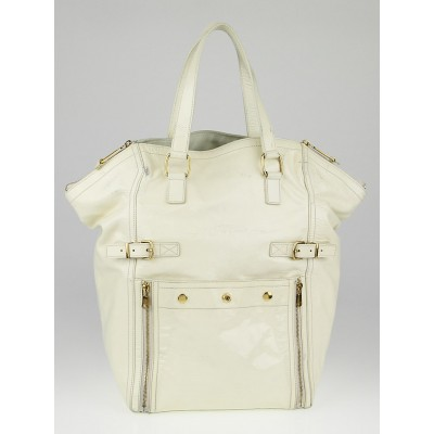 Yves Saint Laurent Ivory Patent Leather Large Downtown Tote Bag