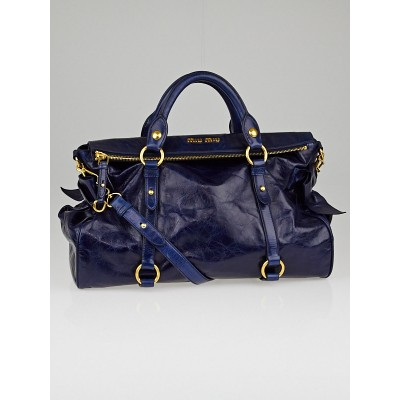 Miu Miu Blue Vitello Lux Leather Bow Top Handle Bag