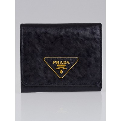 Prada Black Saffiano Triangle Leather Trifold Compact Wallet 1M0176