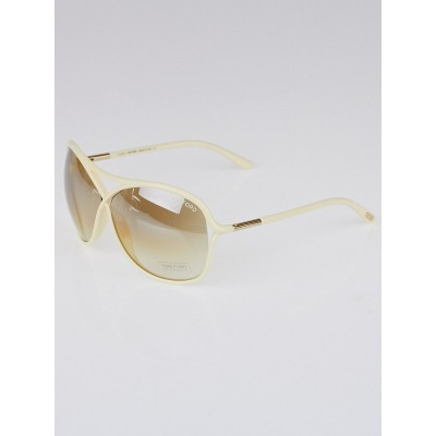 Tom Ford Ivory Frame Raquel Gradient Tint Sunglasses- TF184