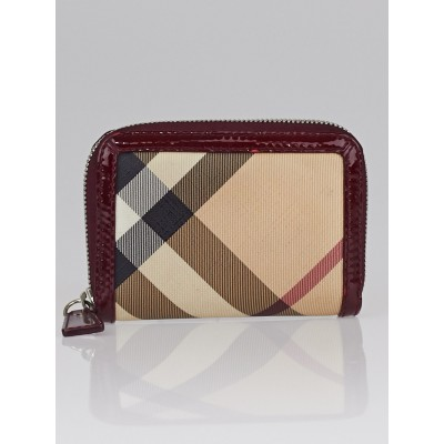 Burberry Nova Check Coated Canvas Zippy Compact Wallet