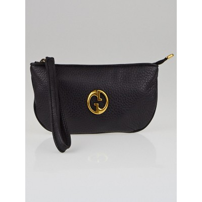 Gucci Black Pebbled Leather GG Wristlet Pochette Bag
