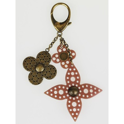 Louis Vuitton Antique Brass/Pink Rock Flower Key Chain and Bag Charm