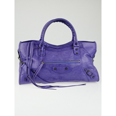 Balenciaga Bleu Lavande Lambskin Leather Part Time Bag
