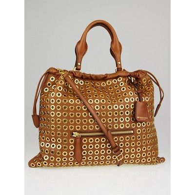 Burberry Brown Leather Grommet Big Crush Tote Bag