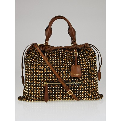 Burberry Leopard-Print Calf Hair Studded Big Crush Tote Bag