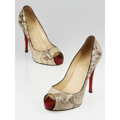 Christian Louboutin Roccia Snakeskin Very Prive Peep Toe Pumps Size 6.5/37