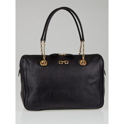 Salvatore Ferragamo Black Buffalo Leather Fanya Chain Tote Bag
