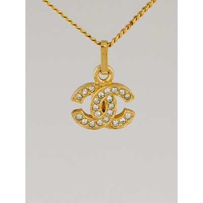 Chanel Goldtone and Swarovski Crystal CC Small Pendant Necklace