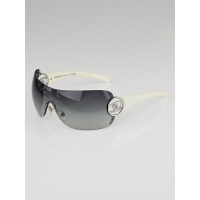 Chanel White Gradient Lens Rimless Shield CC Logo Sunglasses-4145