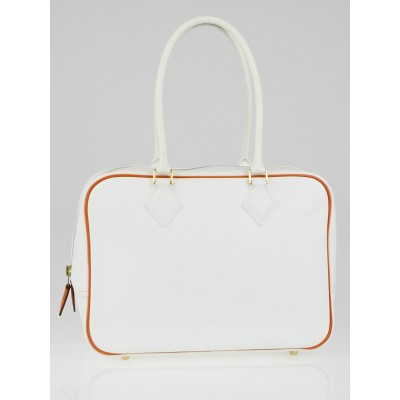 Hermes 28cm White Epsom Leather Bi-Color Plume Bag