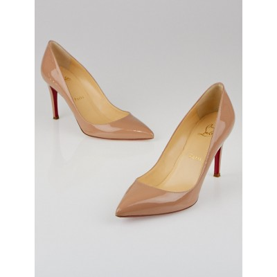 Christian Louboutin Nude Patent Leather Pigalle 85 Pumps Size 6.5/37