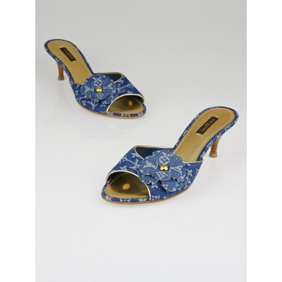 Louis Vuitton Blue Denim Monogram Denim Lotus Slide Mules Size 9/39.5