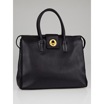 Yves Saint Laurent Black Leather/Canvas Muse Two Bag