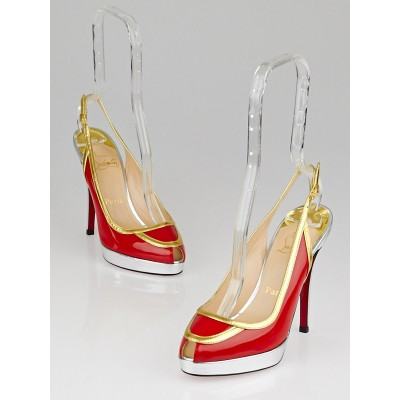 Christian Louboutin Red Patent Leather Foxtrot 120 Slingback Heels Size 6.5/37
