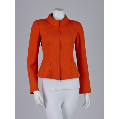 Armani Collezioni Orange Wool Zip-Down Blazer Jacket Size 2
