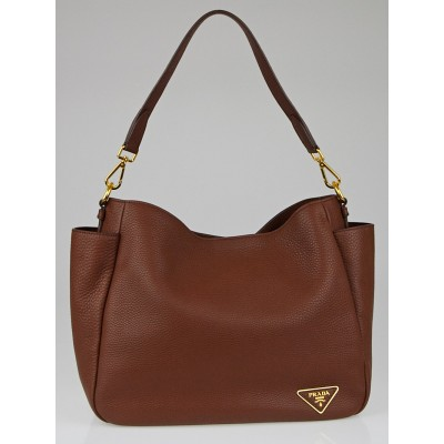 Prada Marrone Vitello Daino Leather Double-Pocket Hobo Bag