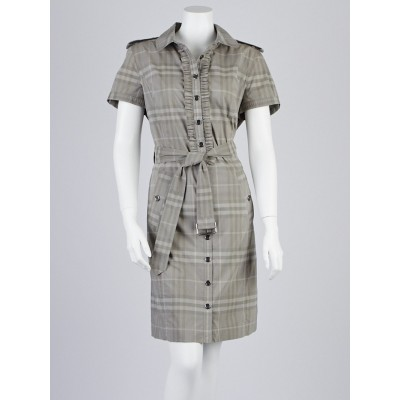 Burbery London Mushroom Check Ruffle Shirt Dress Size 12