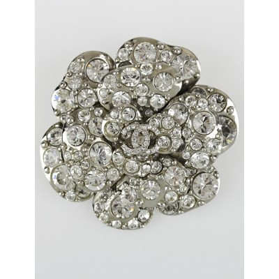 Chanel Crystal Camellia CC Large Brooch