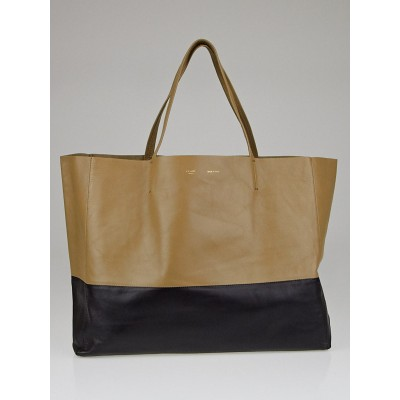 Celine Light Khaki/Black Lambskin Leather Horizontal Bi-Cabas Tote Bag