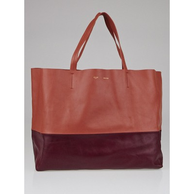 Celine Rust Pink/Burgundy Lambskin Leather Horizontal Bi-Cabas Tote Bag