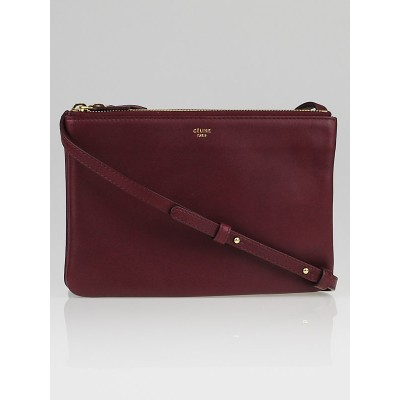 Celine Bordeaux Lambskin Leather Trio Crossbody Bag