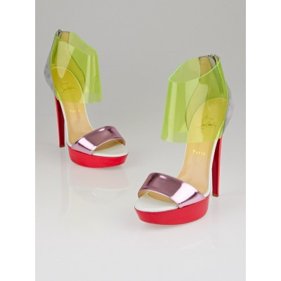 Christian Louboutin Neon Metallic Leather PVC Dufoura Sandals Size 9.5/40
