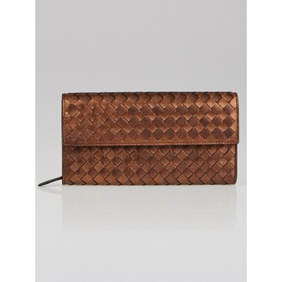 Bottega Veneta Rame Metallic Intrecciato Woven Leather Continental Wallet