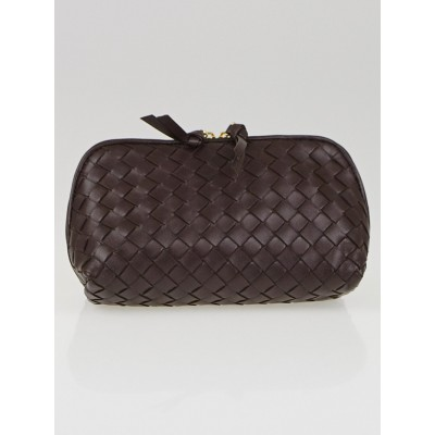 Bottega Veneta Ebano Intrecciato Woven Nappa Leather Cosmetic Case