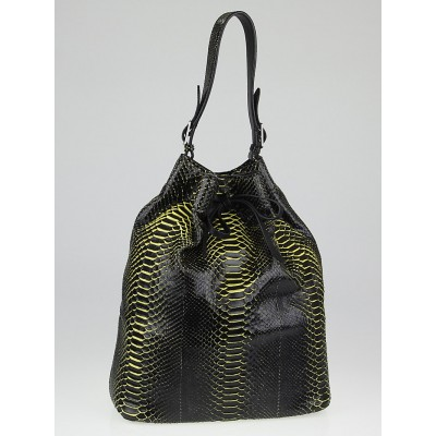 Celine Black/Yellow Python Large Drawstring Bag