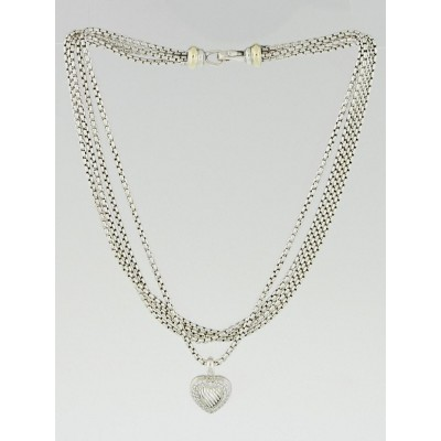 David Yurman Sterling Silver and Diamond Triple Strand Heart Necklace
