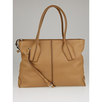 Tod's Beige Leather D-Styling Manici New Grande Large Tote Bag