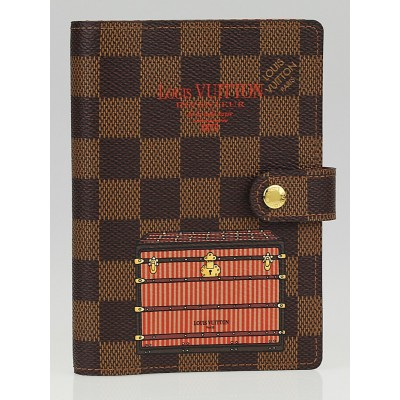 Louis Vuitton Limited Edition Damier Canvas Illustre Trunks & Locks Bordeaux Small Ring Agenda Cover