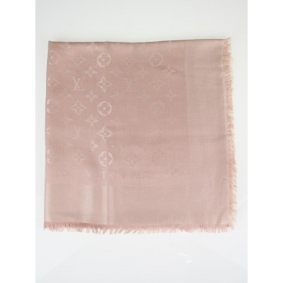 Louis Vuitton Nude Monogram Silk/Wool Shawl Scarf