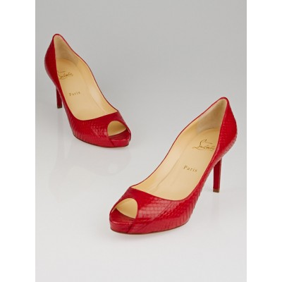 Christian Louboutin Rouge Lipstick Watersnake Lucido No Matter 85 Peep Toe Pumps Size 9/39.5