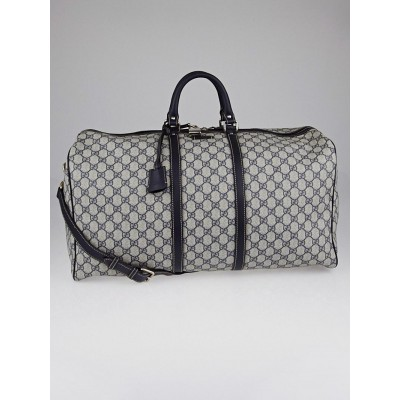 Gucci Beige/Blue GG Plus Coated Canvas Large Carry-On Duffle Bag