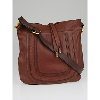 Chloe Chocolate Brown New Leather Marcie Messenger Bag