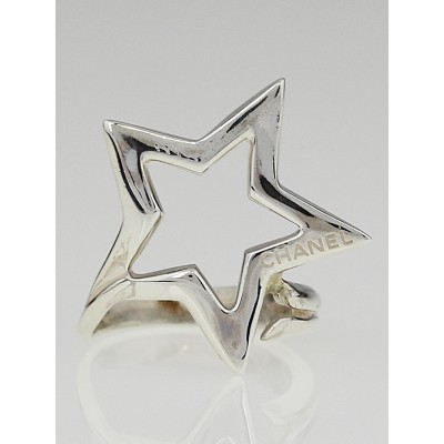 Chanel Sterling Silver Star Comet Ring Size 6