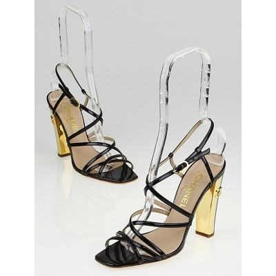 Chanel Black Patent Leather Strappy Sandals Size 7/37.5
