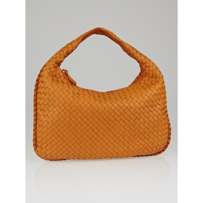 Bottega Veneta Saffron Intrecciato Woven Nappa Leather Medium Veneta Hobo Bag