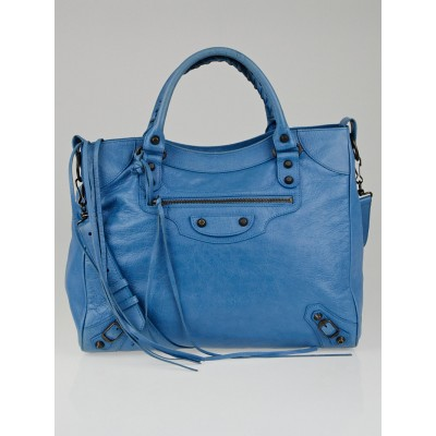 Balenciaga Bleu Paon Lambskin Leather Velo Bag