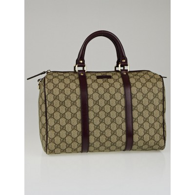 Gucci Beige/Bordeaux GG Coated Canvas Medium Joy Boston Bag