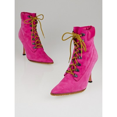 Manolo Blahnik Fuchsia Suede Utility Lace Up Boots Size 7/37.5