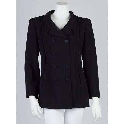 Chanel Black Wool Double Breasted Jacket Size 10/42