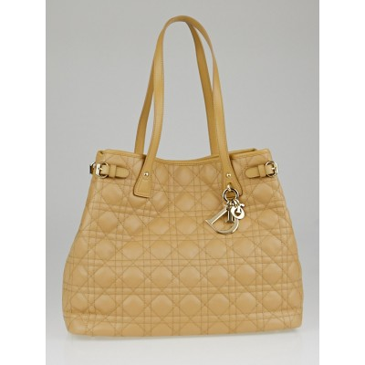 Christian Dior Naturel Cannage Quilted Coated Canvas Medium Panarea Tote Bag