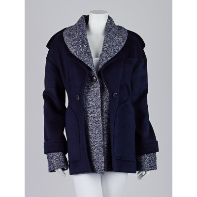 Chanel Navy Blue Wool and Knit Inset Jacket Size 6/38