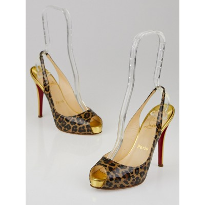 Christian Louboutin Leopard Print Patent Leather Peep Toe Slingback Heels size 7/37.5