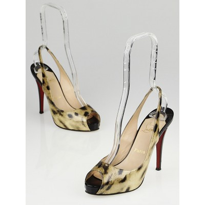 Christian Louboutin Black and Tiger Patent Leather No Prive Size 8/38.5
