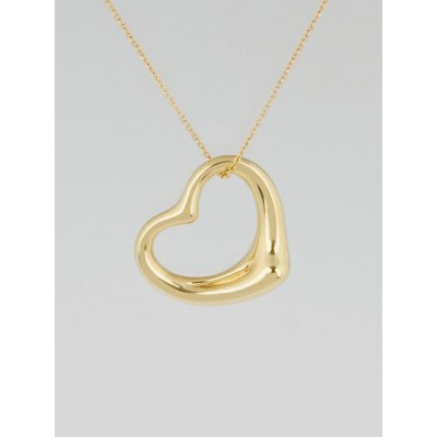 Tiffany & Co. 18k Gold Elsa Peretti Medium Open Heart Pendant Necklace