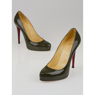 Christian Louboutin Dark Green Patent Leather Rolando 120 Pumps Size 9.5/40
